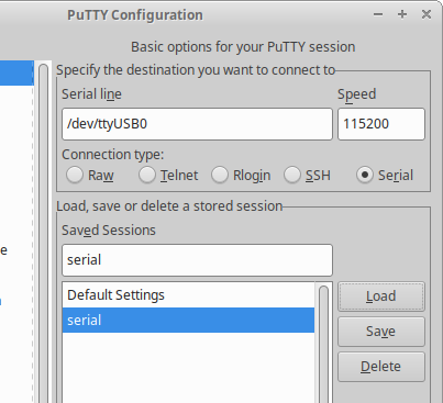 PuTTY configuration dialog